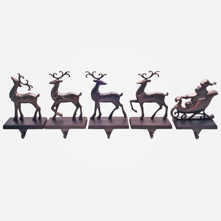 rustic 5 piece set stocking holders country christmas. Black Bedroom Furniture Sets. Home Design Ideas