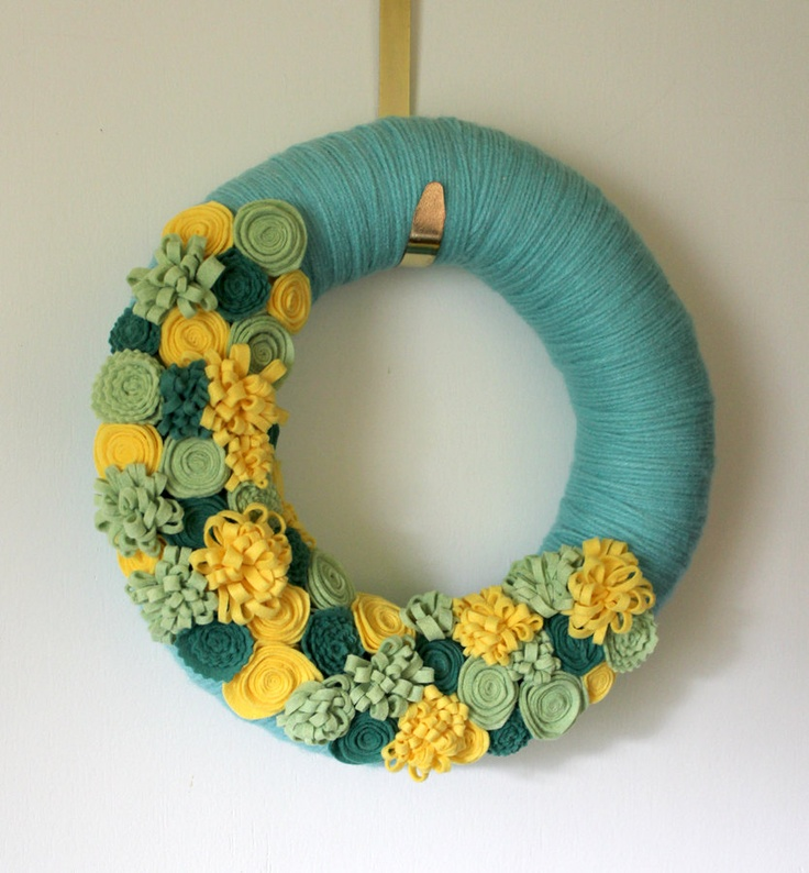 Summer Flower Wreath, Yarn and Felt Wreath, Yellow Green Aqua Colors, 12 inch size. $40.00, via Etsy.