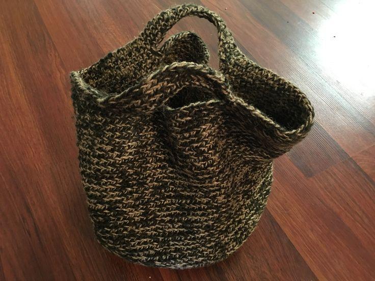 Crochet wool and twine basket bag
