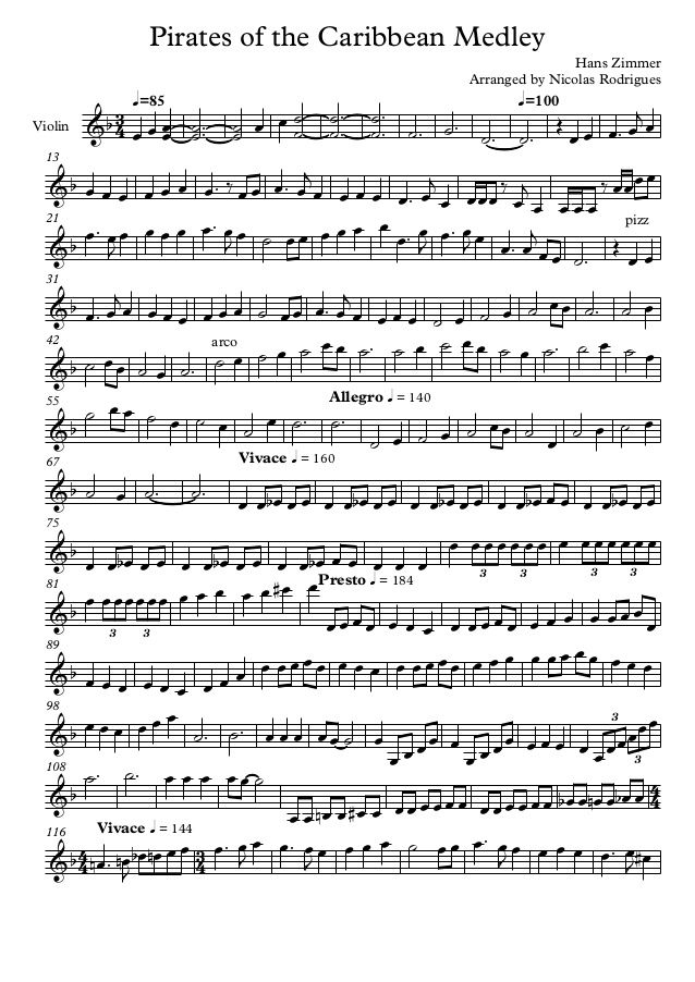 Pirates of the Caribbean Medley for solo Violin