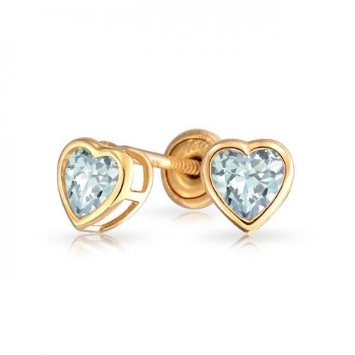 14K Heart Blue Topaz Color CZ Baby Stud Earrings Screwback Safety
