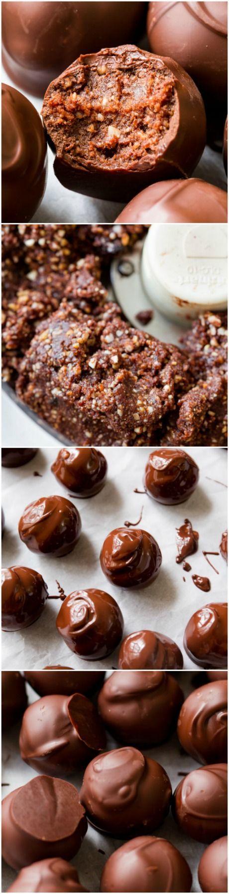 Seriously! HEALTHY truffles made with dark chocolate. Easy recipe found on sallysbakingaddiction.com