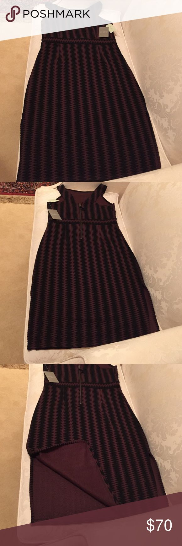 NWT Maeve brown and black striped dress Anthropologie Maeve dress brown and black vertical stripes, V back with back zipper and two side slits Maeve Dresses Midi