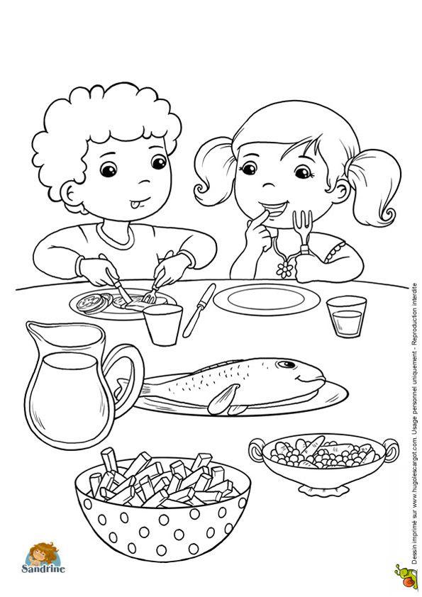 Coloriage de deux enfants durant le repas de famille