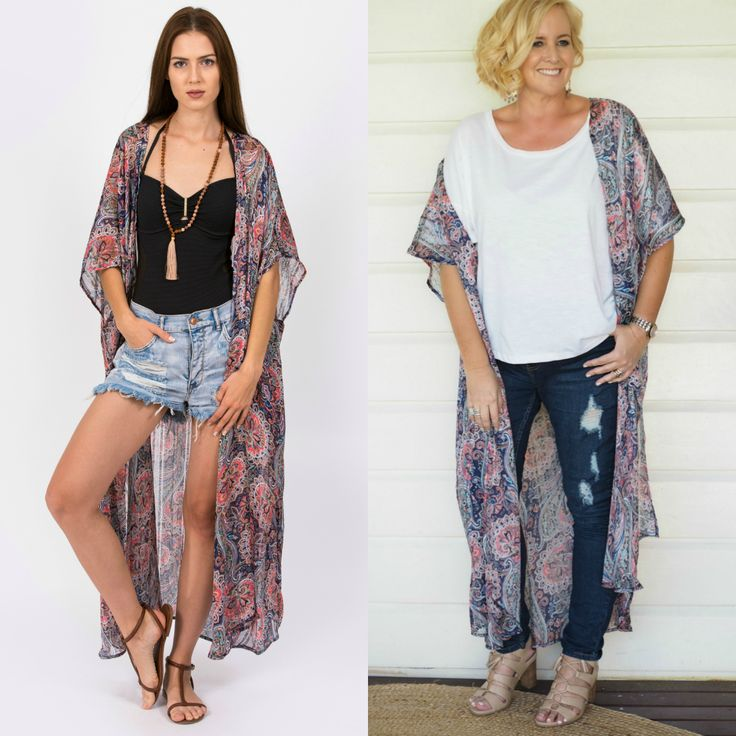 iland co kimono worn over white t-shirt and jeans with heels