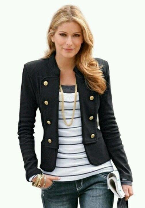 nautical blazer passion for fashion pinterest fille militaire style de militaire et. Black Bedroom Furniture Sets. Home Design Ideas