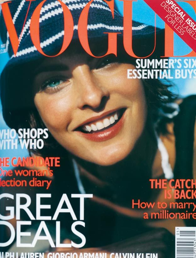 May 1997 Linda Evangelista wears navy-blue cotton-jersey vest dress with V-neck by Miu Miu, £140 at Harvey Nicols and Tokio. White crochet triangle bikini top, £35, to order, from C.S Collection. Navy-blue and white crochet hat by Kangol at Debenhams. Make up by Clinique. Hair: Marc Lopez. Make-up: Tom Pechaux. Photography: Mario Testino.