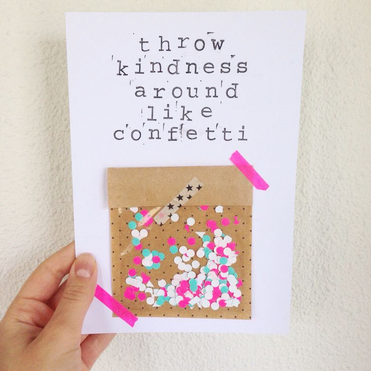 DIY kaart poster zwart wit met quote van Hema stempels. Throw kindness around like confetti