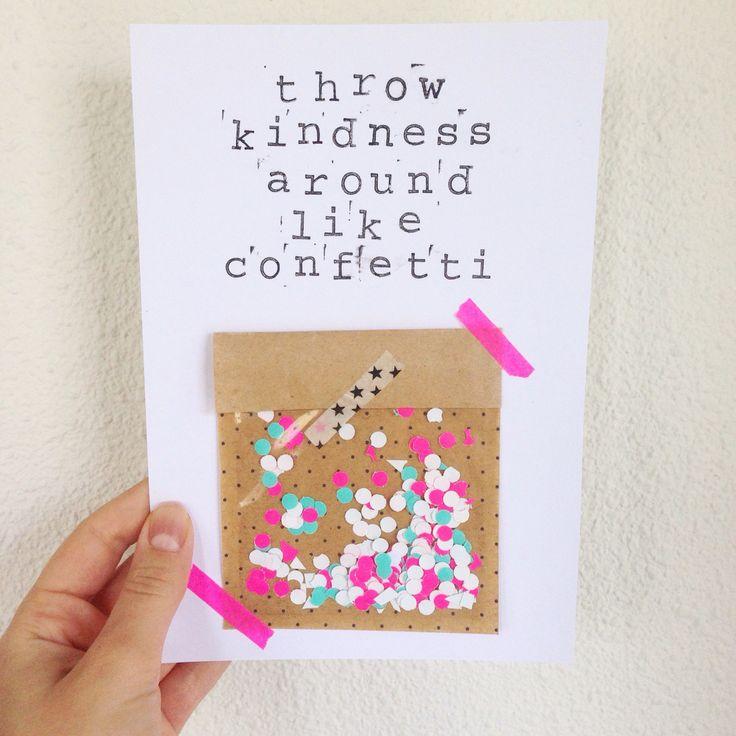 DIY kaart poster zwart wit met quote van Hema stempels. Throw kindness around like confetti