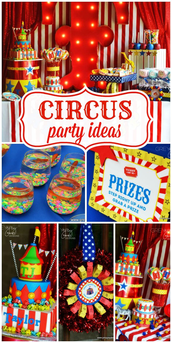 A Circus birthday party for two boys with amazing party decorations, cakes and activities!  See more party ideas at CatchMyParty.com!