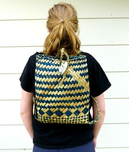 Teal and Natural Maori Kete Backpack