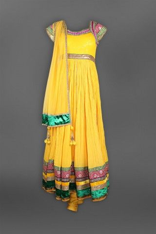 Featuring this beautiful yellow anarkali with net dupatta  in our wide range of Suits. Grab yourself one Now!