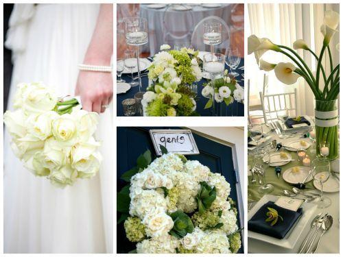 fehér menyasszonyi csokor + díszítés