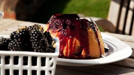 Steamed Apple Sponge Pudding with Blackberry Sauce, Hairy Bikers on BBC Food