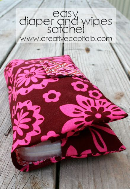 Easy Diaper and Wipes Carrier---this would make an adorable shower gift!