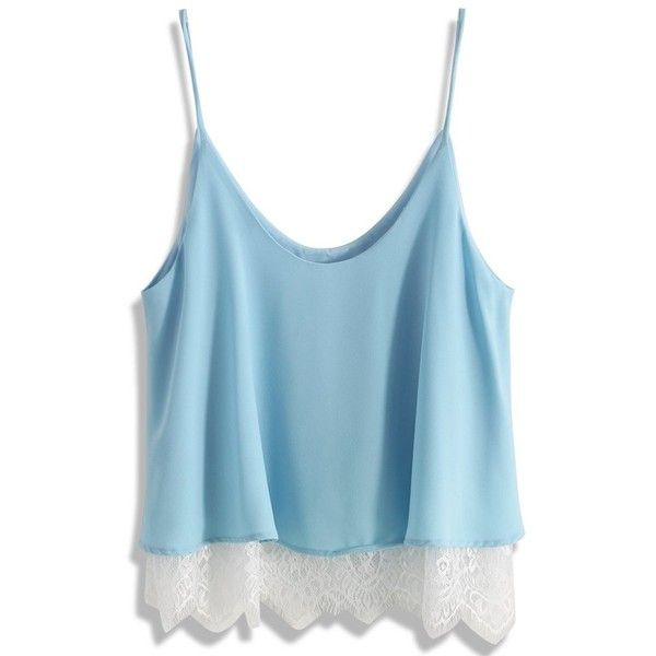 Chicwish Breezy Lace Trimmed Cami Top in Blue ($36) ❤ liked on Polyvore featuring tops, shirts, blue, chicwish, sleeveless tops, lace trim camisole, cropped cami, lace trim top, sleeveless crop top and maxi shirt