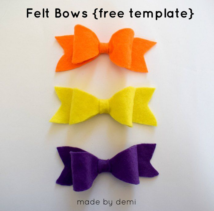 FELT BOW TUTORIAL | free bow template to download | made by demi
