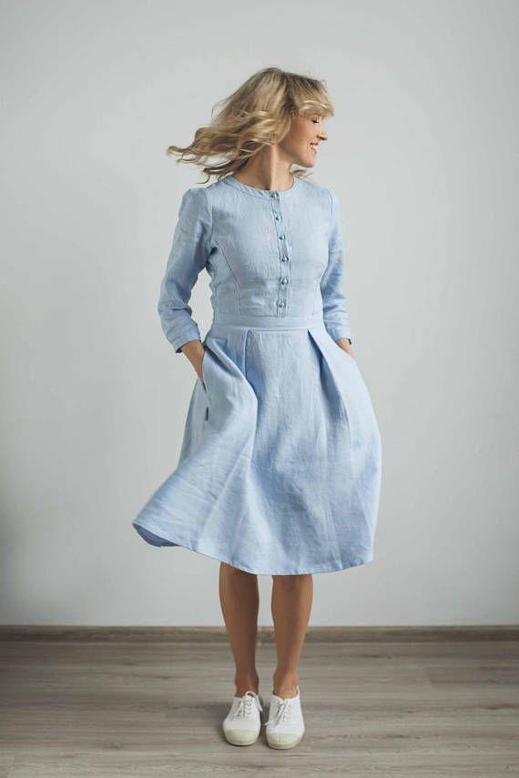 ab94a8558c39 Classic linen dress, elegant casual dress, simple elegant dress, casual  wedding dress, baptism dress, engagement dress, sky blue dress