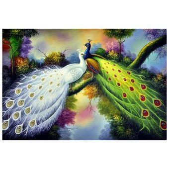 World Art Tavus Kuşları Yağlı Boya Tablo %100 El Yapımı