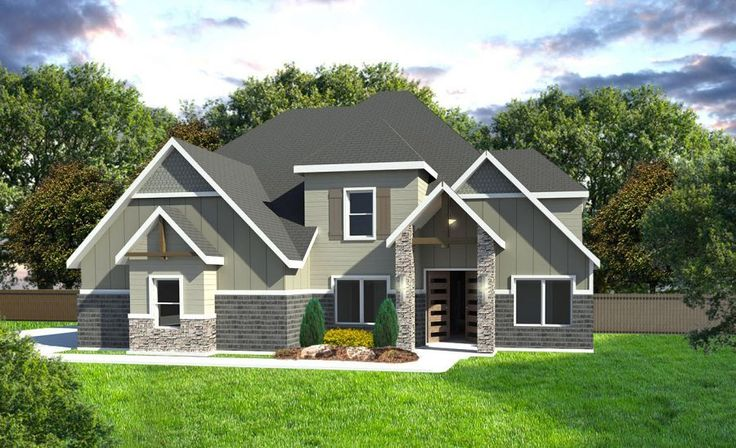 This is the vail design by timbercraft homes in a traditional craftsman elevation