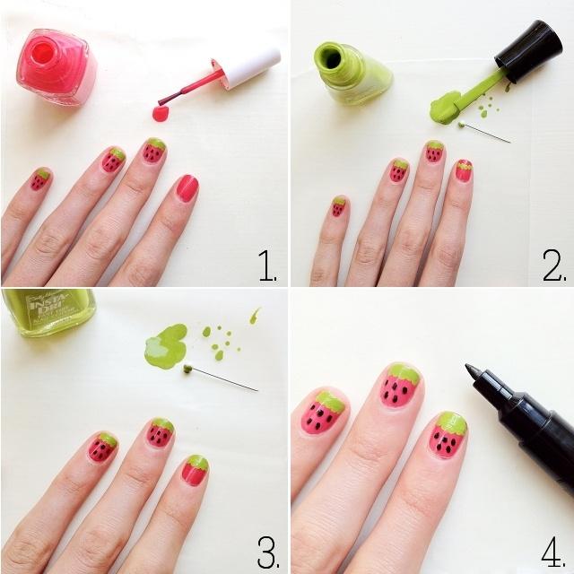 Watermelon Nails by OneSheepishGirl