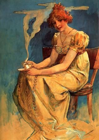 Gorgeous ART NOUVEAU print of beautiful woman holding steaming cup of coffee by Alphonse Mucha.