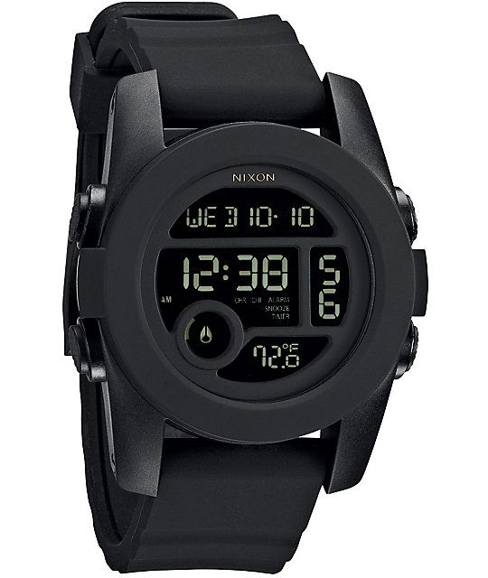 The Unit 40 watch from Nixon is now in black and has a smaller face than the original Unit watch. This all digital watch has a silky soft double injected silicone band so your arm hairs will remain intact, digital display of the time with seconds, tempera