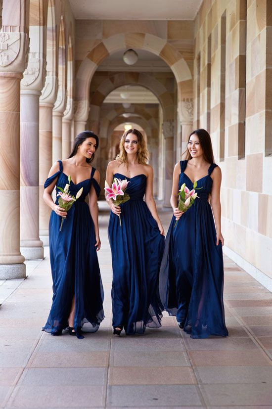 These navy blue bridesmaids dresses are gorgeous! Doesnt even need to be shortened for future weddings, because its GORGEOUS!