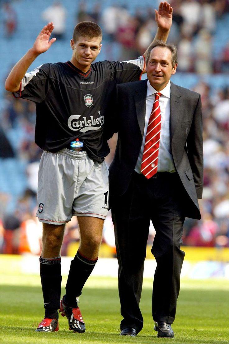 October 2003: Steven Gerrard and Rafael Benitez joyous after an away win