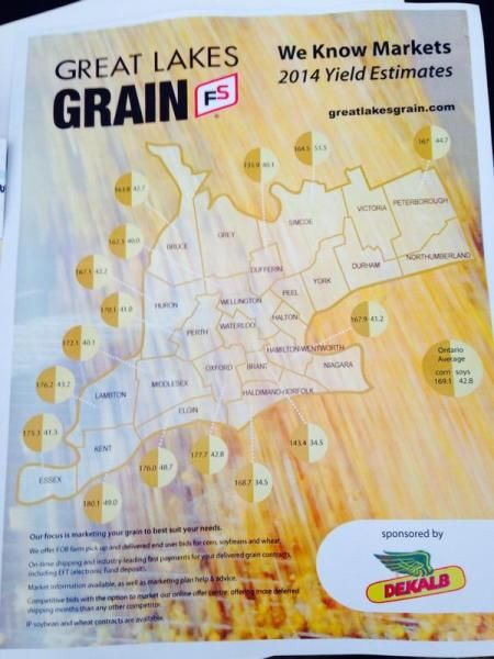 Great Lakes Grain 2014 Yields Ontario Map at COFS