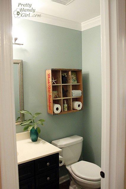 wood pallet organization for bathroom.