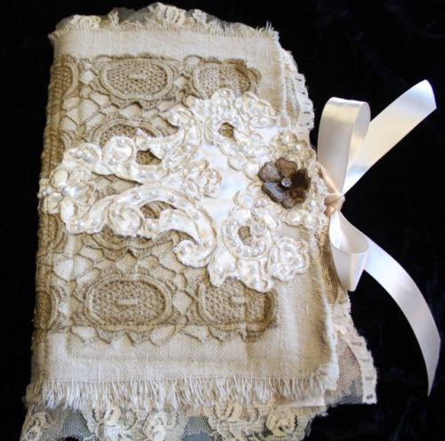 Mix Media Fabric Collage Journal Photo Album Book Vintage Lace