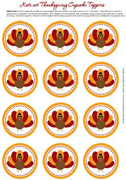 Cute free cupcake topper Thanksgiving turkey images by kate.net.  Click on image to download from original site.