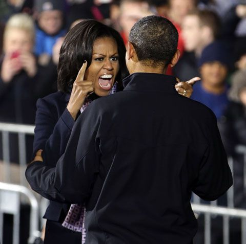 Michelle Obama screaming at the Prez