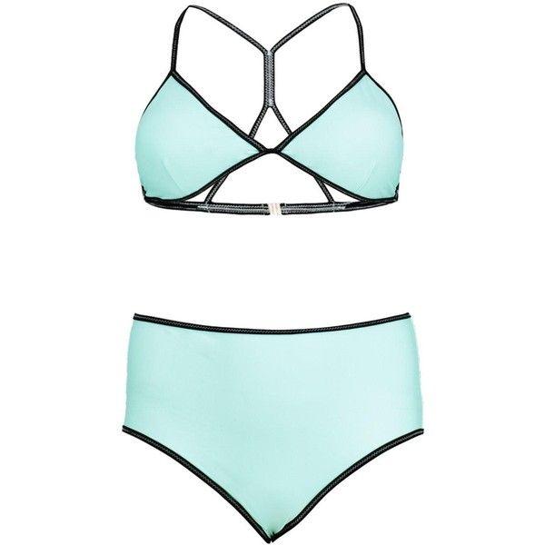 Boohoo Plus Leila Cross Stitch Triangle Bikini ($30) ❤ liked on Polyvore featuring swimwear, bikinis, triangle bikini swimwear, bikini swim wear, boohoo swimwear, bikini beachwear and bikini swimwear