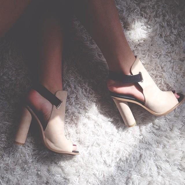 Kate in the #ShoeCult Shields Up Sandal in Blush    Get the sandal: http://www.nastygal.com/by-nasty-gal-shoes/shoe-cult-repartee-sandal--blush
