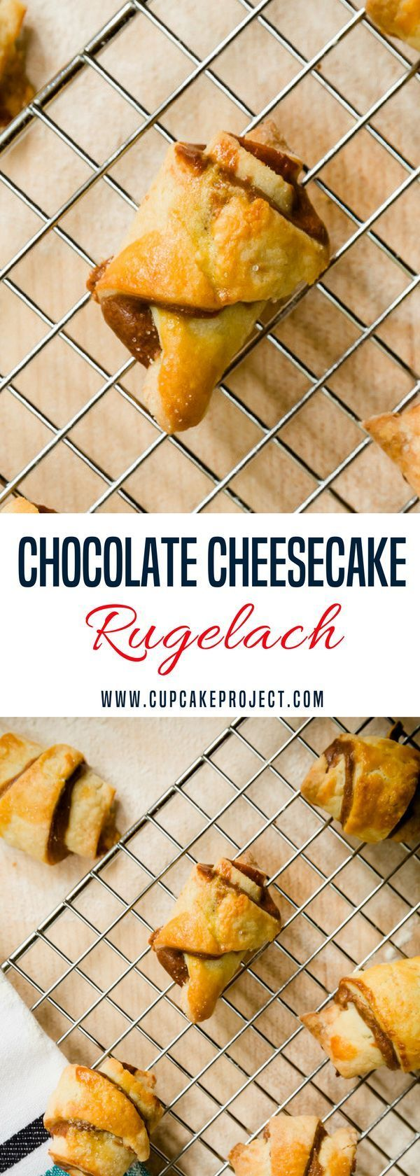 Looking for some homemade and from scratch dessert recipes? This Chocolate Cheesecake Rugelach is filled with chocolate cheesecake, you'll definitely drool for it! More easy and from scratch baking recipes from #CupcakeProject #dessert #baking
