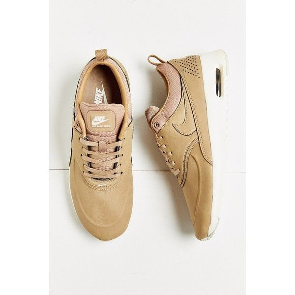 Nike Air Max Thea Premium Sneaker ($115) ❤ liked on Polyvore featuring shoes, sneakers, tan, tan leather shoes, light weight shoes, leather sneakers, nike sneakers and nike trainers