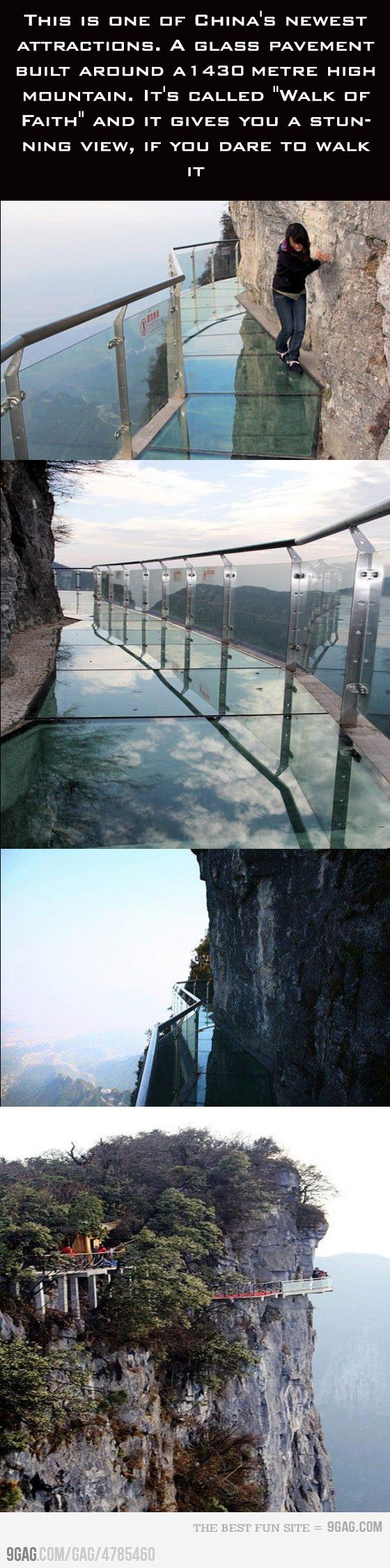 Walk of Faith. Glass Plank Road has been added 1,430 metres (4,690ft) up the Zhangjiajie Tianmen mountain to give the tourists an unforgettable sightseeing experience.