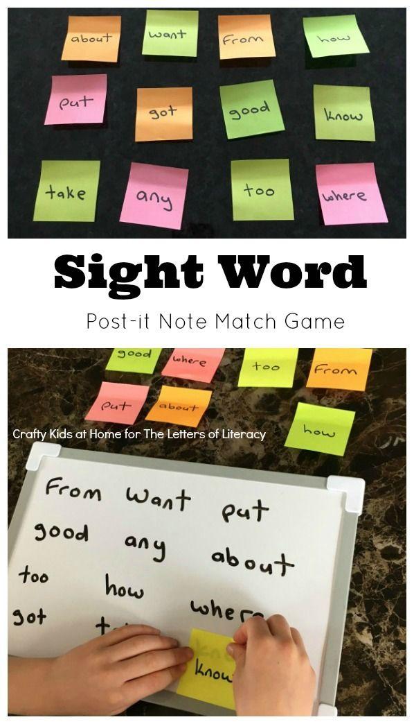 Sticky Note Sight Word Match