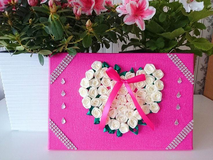 Geschenke für Frauen - Bild Dekoration Herz mit Rosen 30x20 kommunion  - ein Designerstück von atelier-house-decor bei DaWanda