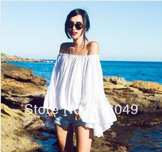New 2014 Summer Vacation Bohemian Strapless Off The Shoulder Sexy Blouse Cotton Tops Beach Casual Flare-Sleeve Ruffles Cover Up