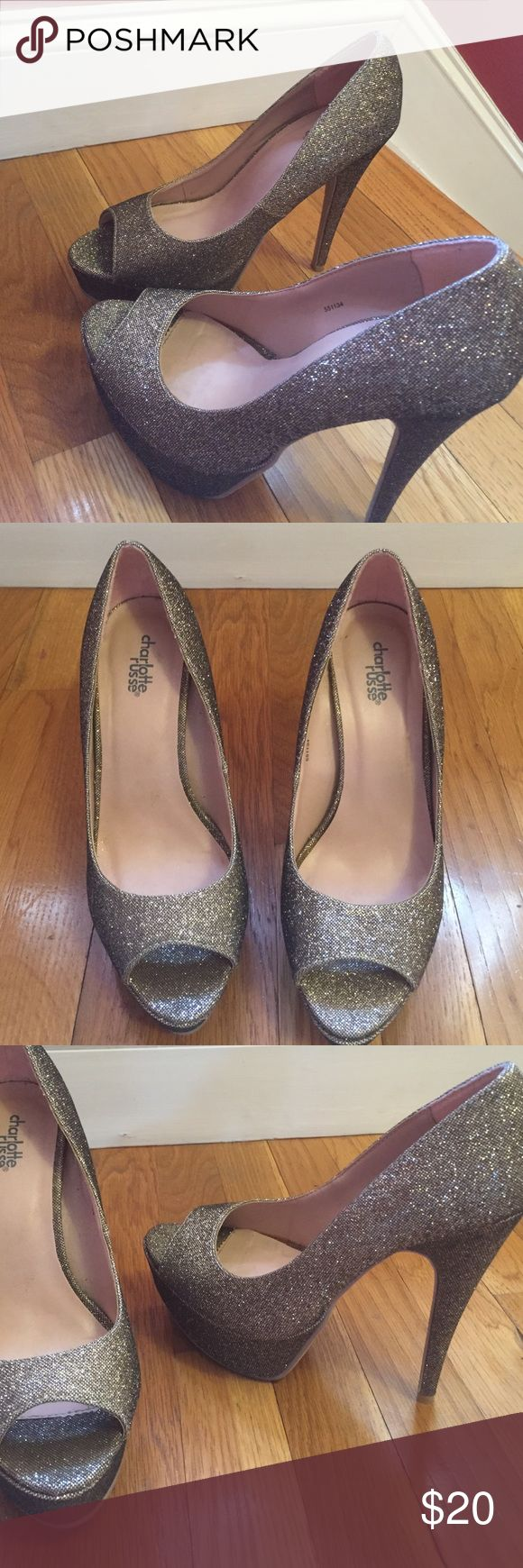 "Sparkly gold open toe heels Sexy stilettos!!! Gold shimmery gold mesh pumps! Great for prom and wedding season! Open toe with 5"" heel and a 2"" platform in the front, worn literally once!! Charlotte Russe Shoes Heels"