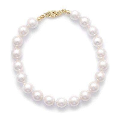 14k 8 Inch 7-7.5mm Grade Aa Cultured Akoya Pearl Bracelet Individually Knotted a Yellow Gold Clasp JewelryWeb. $346.50