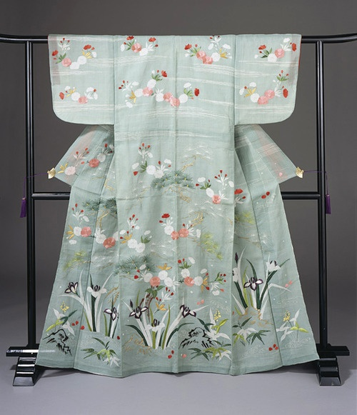 'Woman's Summer Kimono (Katabira) with Irises, Pine, and Cherry Blossoms, Late Meiji period, 1868-1912, early 20th century. Ramie plain weave (choma) with paste-resist dyeing (shiroage), silk and gold metallic thread embroidery'. LACMA (Gift of Elissa Cullman in honor of Robert T. Singer)