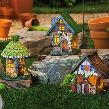 Lighted Fairy House, 3 Asst