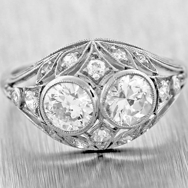 1920's Antique Art Deco Tiffany & Co Platinum 1.86ctw Diamond Engagement Ring