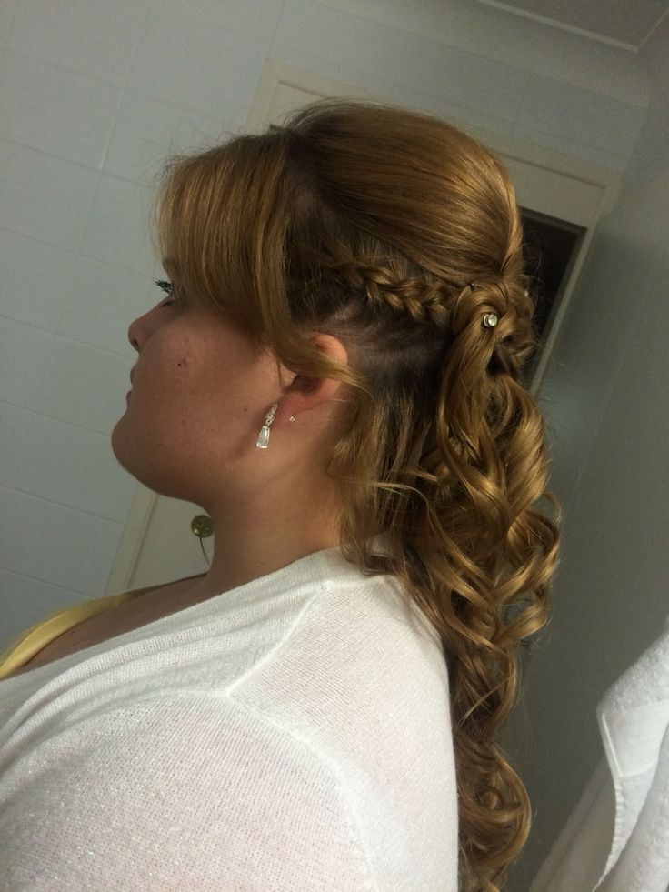 Side view of braided curly do