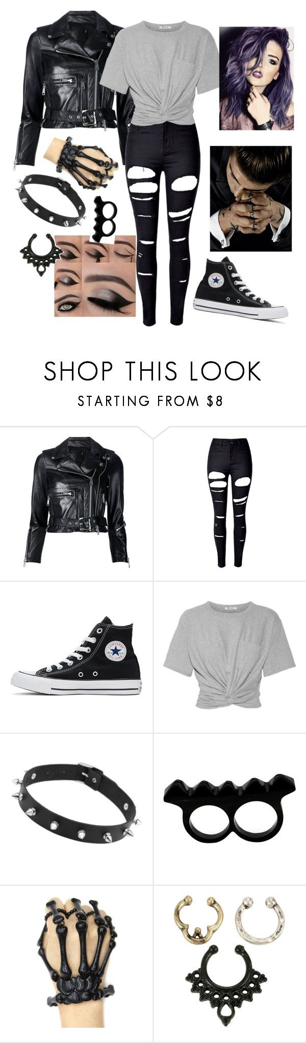 """""""♡Love the Bad Boys♡"""" by emo-roxanne ❤ liked on Polyvore featuring R13, WithChic, Converse, T By Alexander Wang, L'Artisan Créateur, Hot Topic and mmm"""