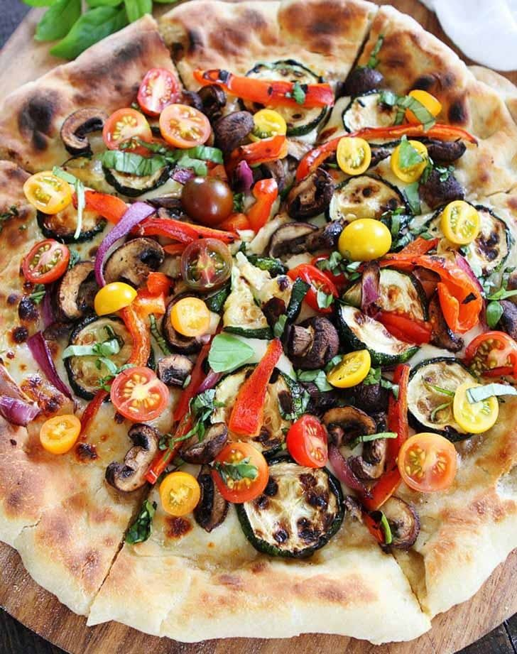 Garlic butter grilled vegetable pizza. Get the recipe.